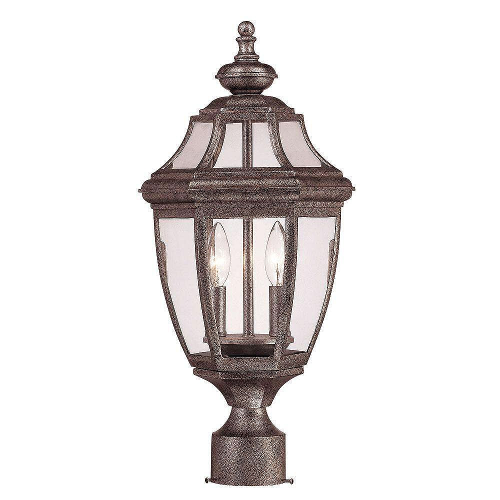 Illumine Satin 2 Light Silver Incandescent Outdoor Post Lantern With Clear Glass
