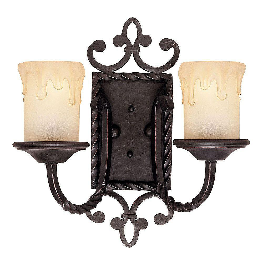 Illumine Satin 2 Light Black Incandescent Wall Sconce With White Glass