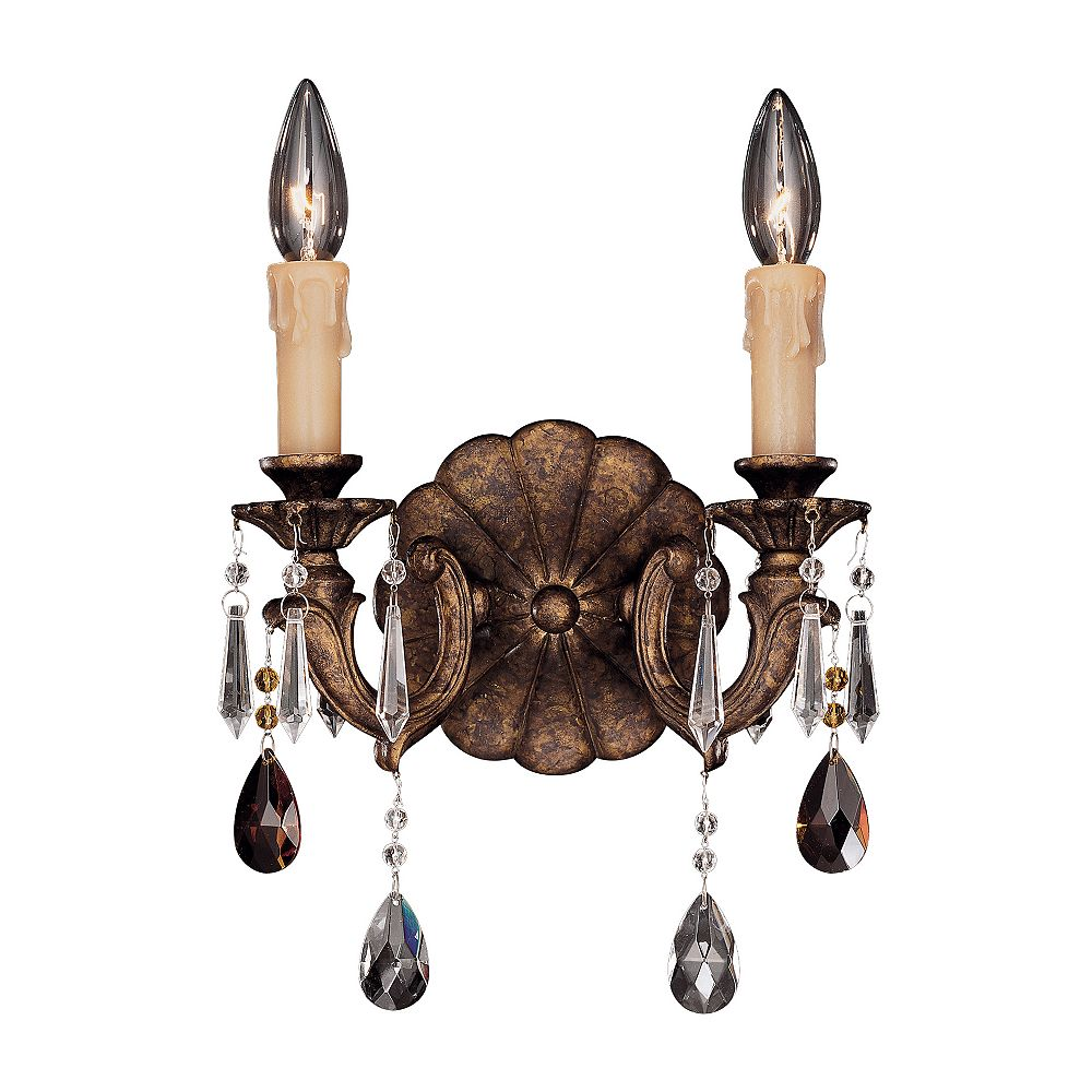 Illumine Satin 2 Light Bronze Incandescent Wall Sconce With Clear Glass