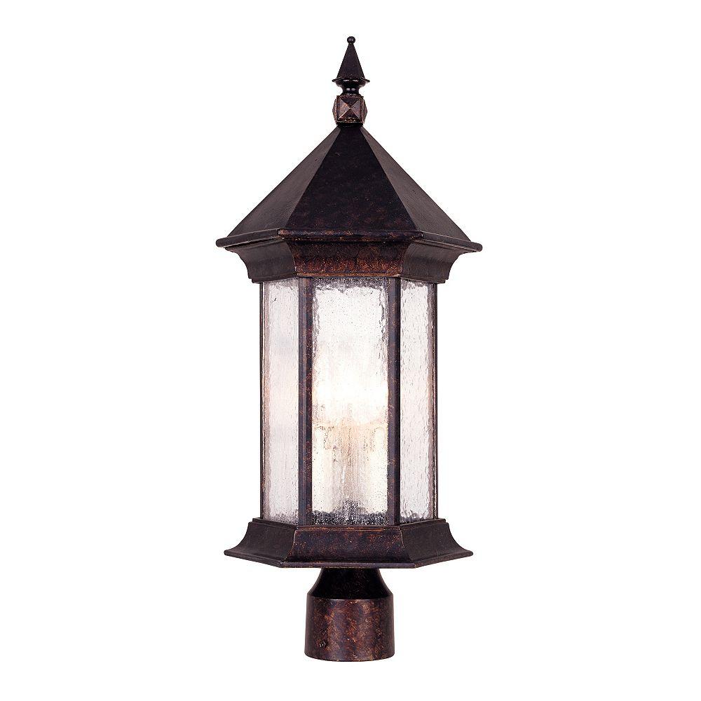 Illumine Satin 3 Light Bronze Halogen Outdoor Post Lantern With MultiColour Glass