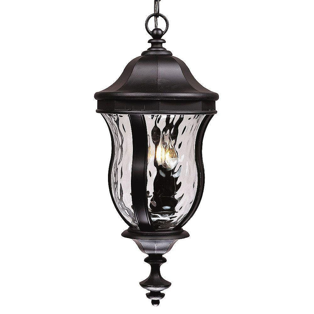 Illumine Satin 3 Light Black Halogen Outdoor Hanging Lantern With Clear Glass