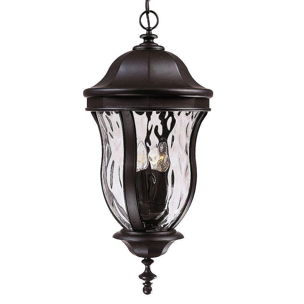 Illumine Satin 4 Light Black Halogen Outdoor Hanging Lantern With Clear Glass