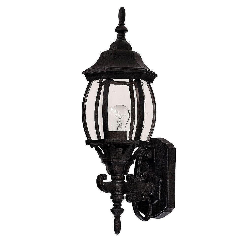 Illumine Satin 1-Light Black Outdoor Wall Mount with Clear Glass