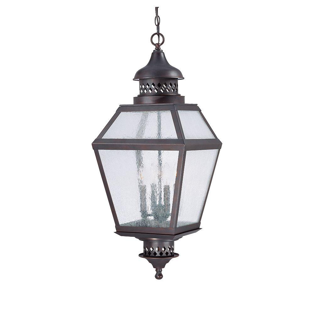 Illumine Satin 4 Light Bronze Incandescent Outdoor Hanging Lantern With White Glass