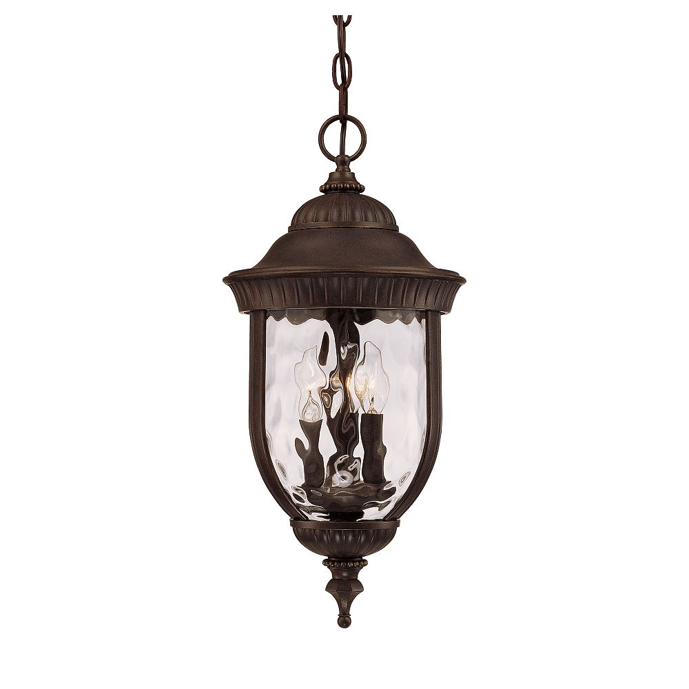 Illumine Satin 3 Light Bronze Halogen Outdoor Hanging Lantern With Clear Glass