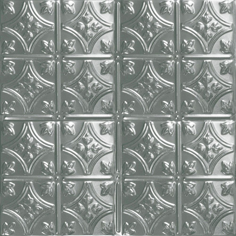 Shanko 2 ft. x 2 ft. Steel Silver Lay-In Ceiling Tile