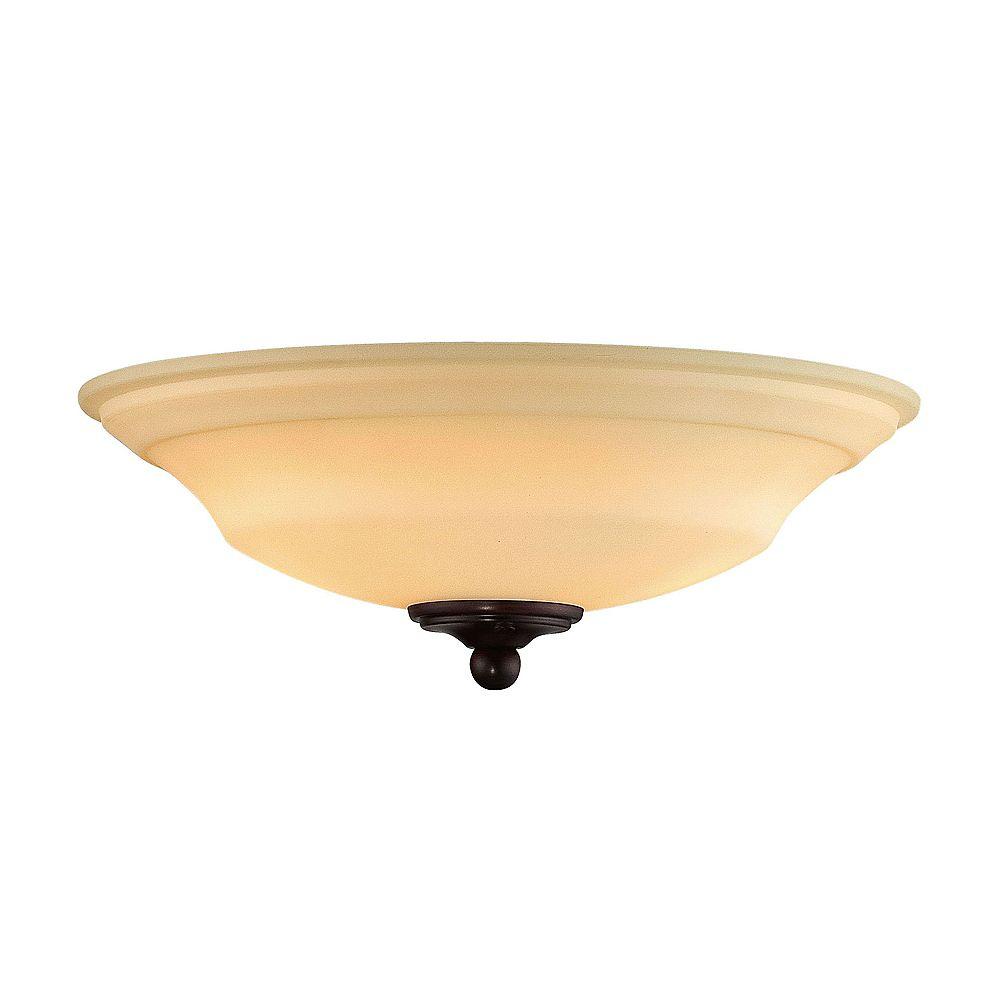 Illumine Satin 2 Light Bronze Fluorescent Fan Light Kit With White Glass