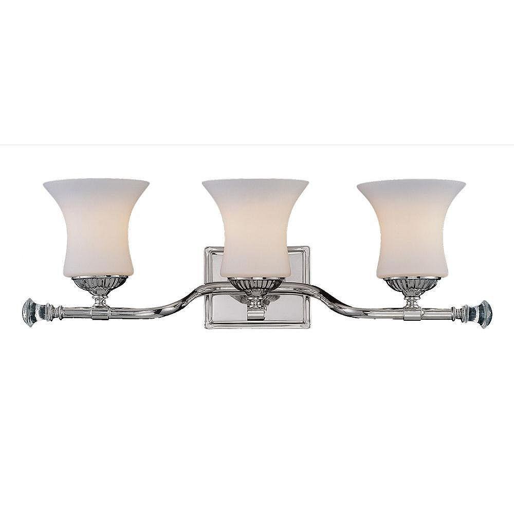 Illumine Satin 3 Light Nickel Incandescent Bath Bar With White Glass