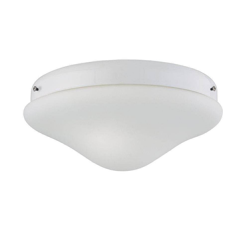 Illumine Satin 2 Light White Incandescent Fan Light Kit With White Glass