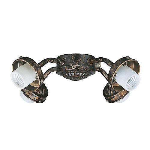 Satin 4 Light Bronze Incandescent Fan Light Kit