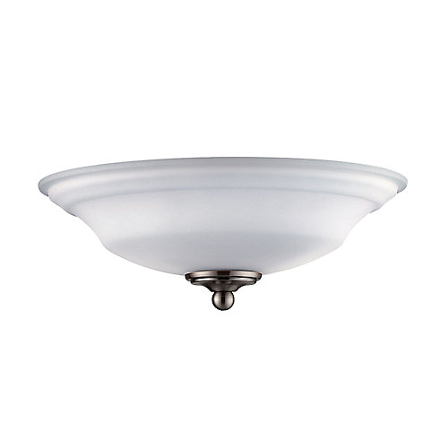 Satin 2 Light Nickel Fluorescent Fan Light Kit With White Glass