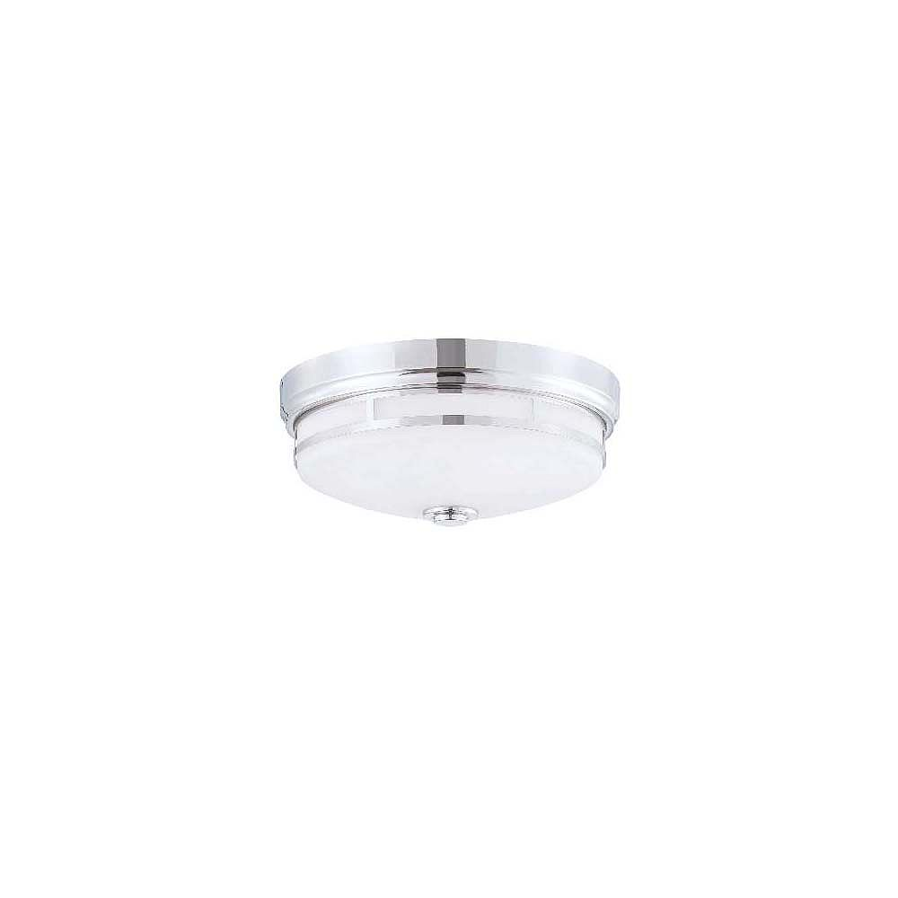 Illumine Satin 3 Light Nickel Incandescent Flush Mount With White Glass