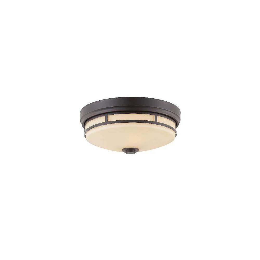 Illumine Satin 3 Light Black Incandescent Flush Mount With White Glass