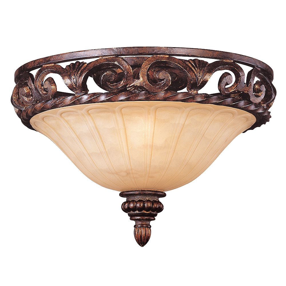 Illumine Satin 2 Light Bronze Incandescent Flush Mount With Amber Glass