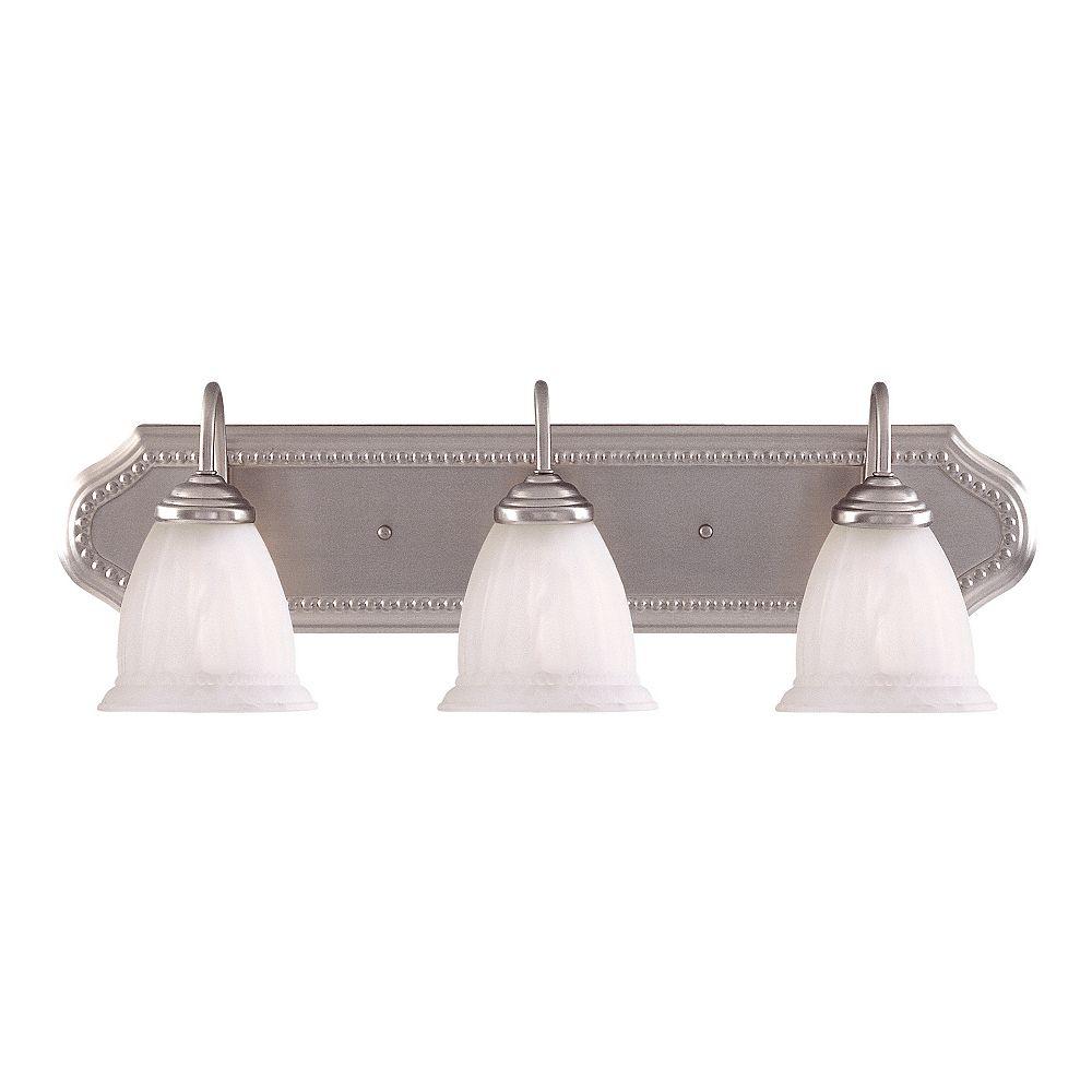 Illumine Satin 3-Light Nickel Bath Bar with White Glass