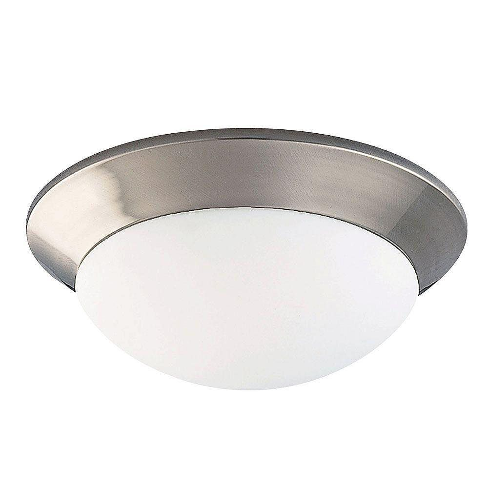 Illumine Satin 2-Light Nickel Flush Mount with Multicolor Glass