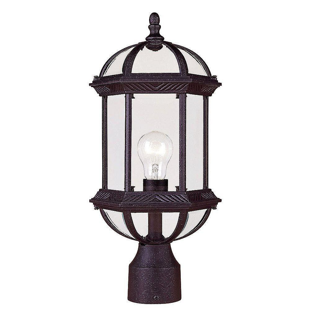 Illumine Satin 1 Light Black Incandescent Outdoor Post Lantern With Clear Glass