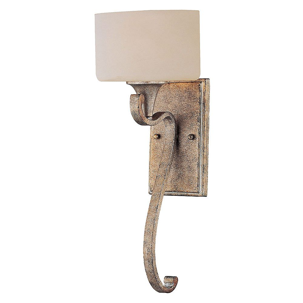 Illumine Satin 1-Light Gold Wall Sconce with White Glass