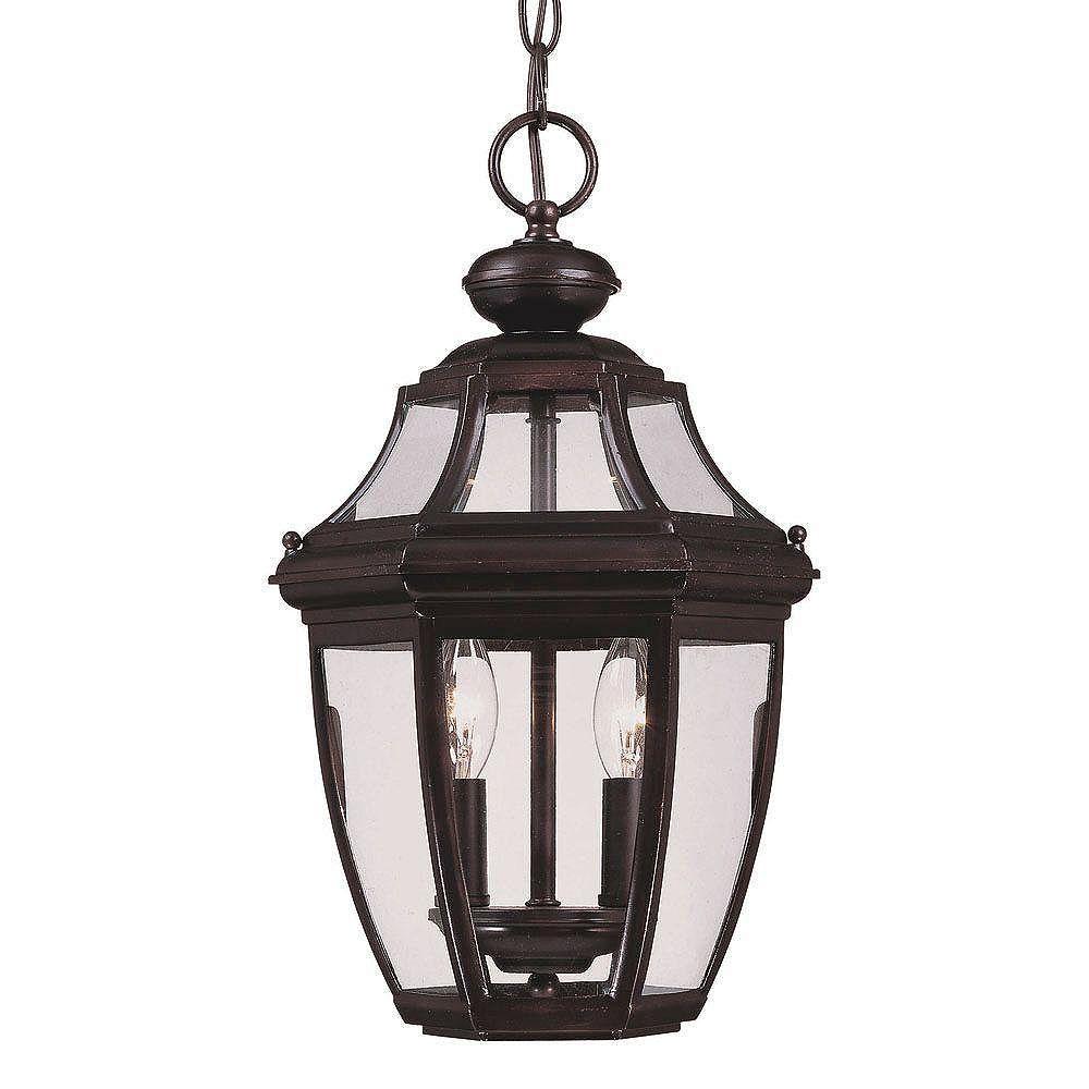 Illumine Satin 2 Light Bronze Halogen Outdoor Hanging Lantern With Clear Glass