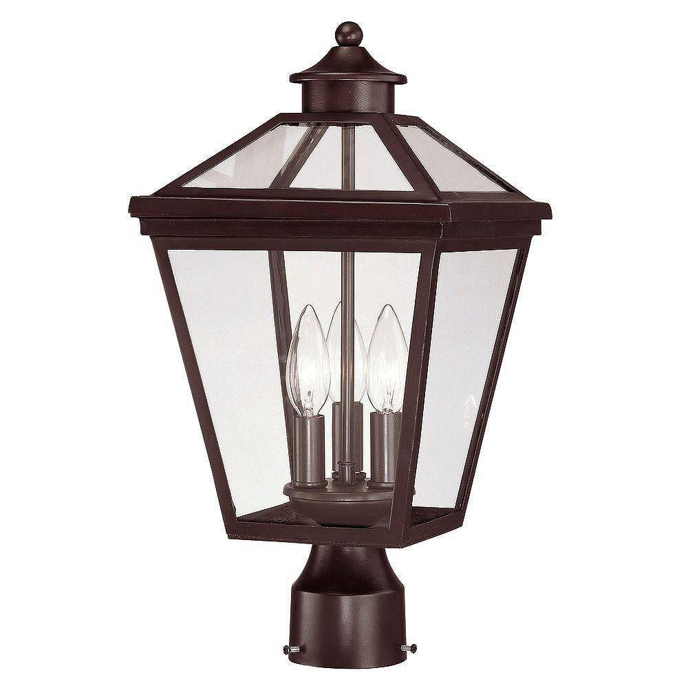 Illumine Satin 3 Light Bronze Halogen Outdoor Post Lantern With Clear Glass