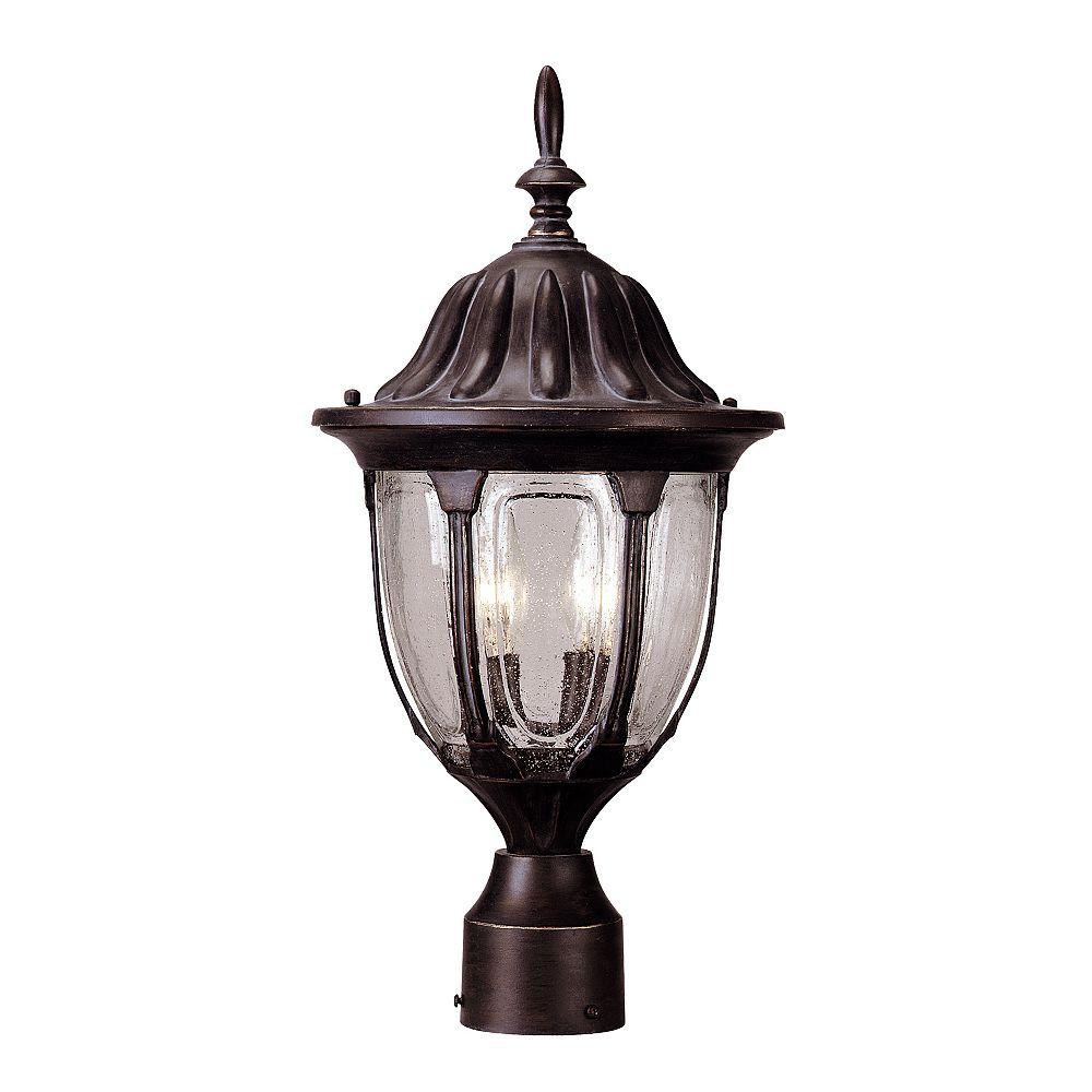 Illumine Satin 2 Light Bronze Incandescent Outdoor Post Lantern With Clear Glass