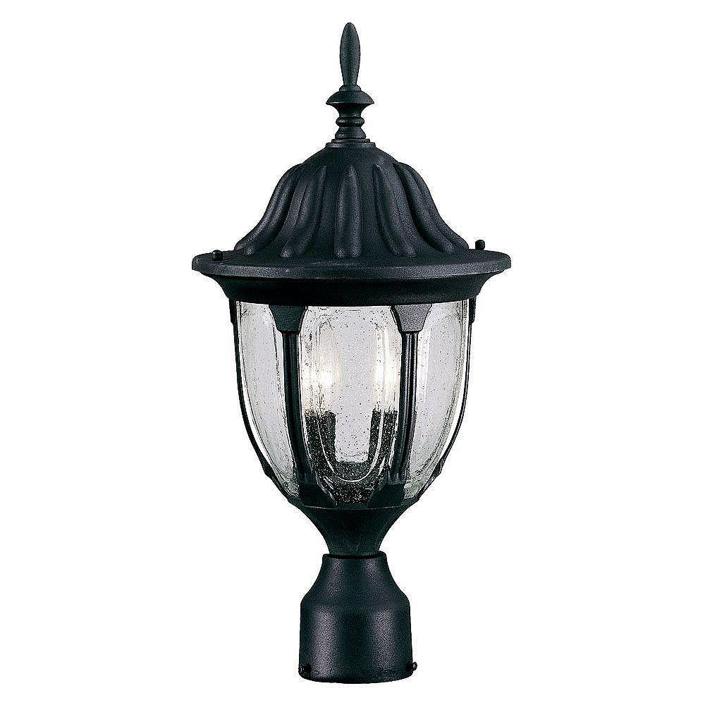 Illumine Satin 2 Light Black Incandescent Outdoor Post Lantern With Clear Glass