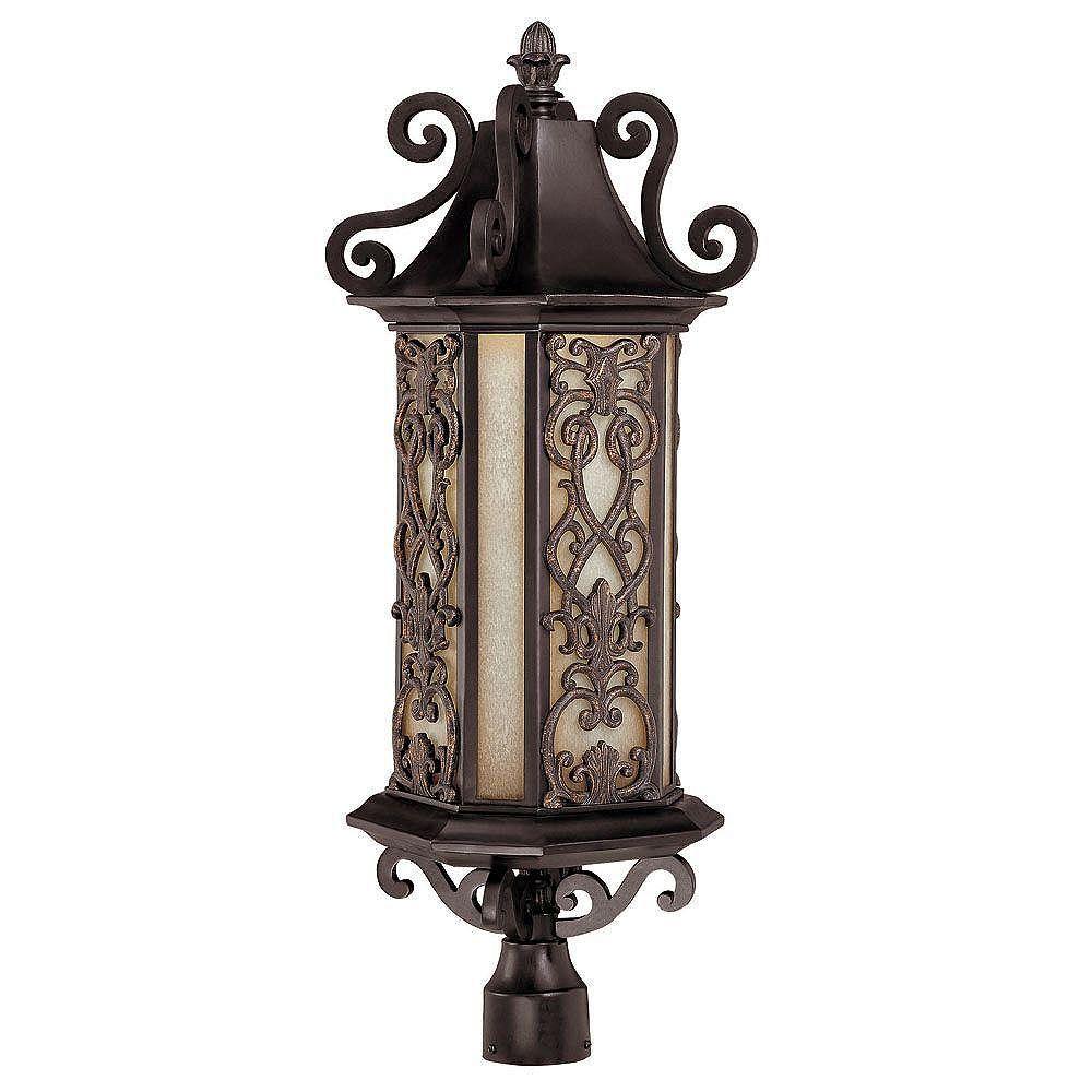 Illumine Satin 6-Light Black Outdoor Post Lantern with Multicolor Glass