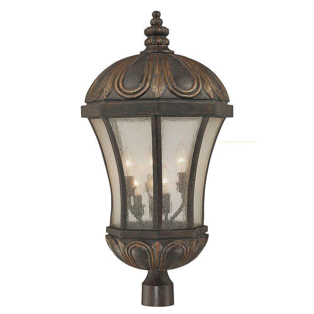 Illumine Satin 6 Light Black Halogen Outdoor Post Lantern With White Glass
