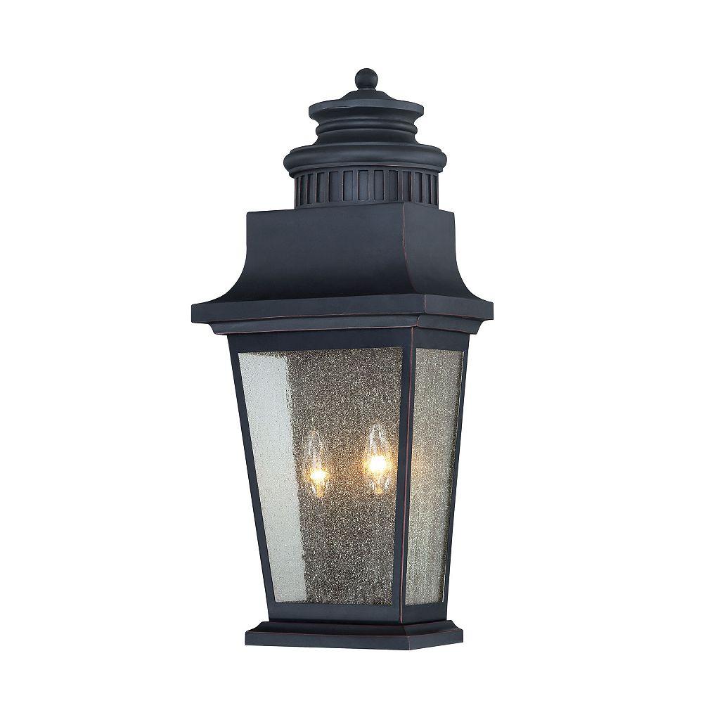 Illumine Satin 2 Light Black Halogen Outdoor Pocket Lantern With Clear Glass