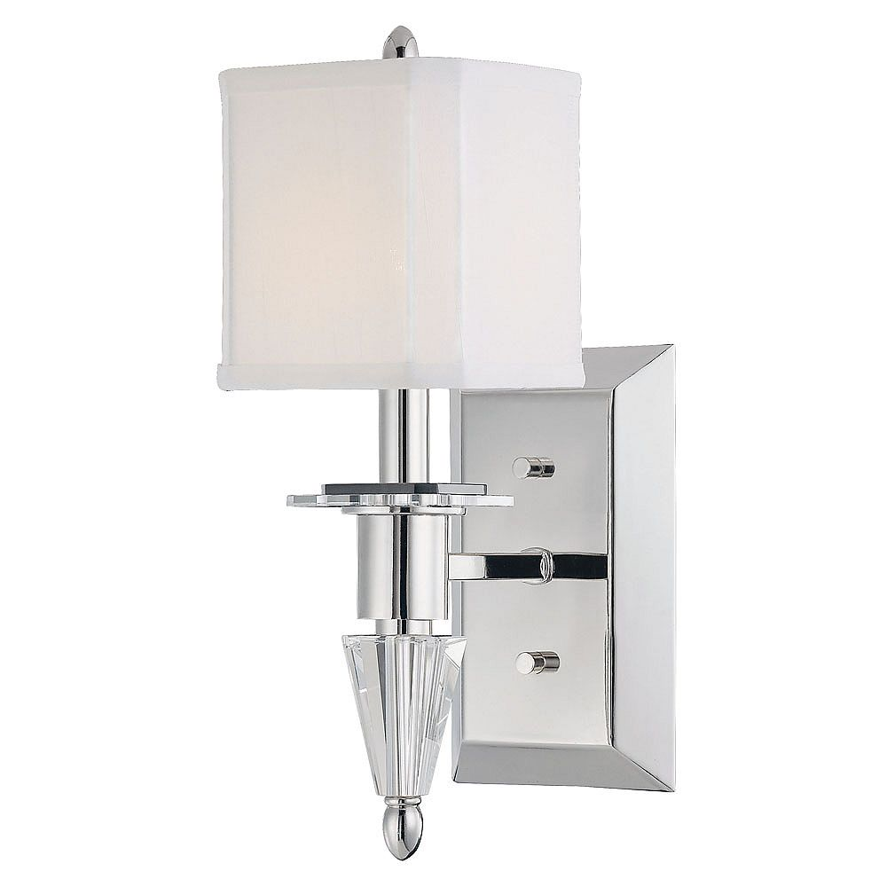 Illumine Satin 1 Light Nickel Incandescent Wall Sconce With White Square Fabric Glass