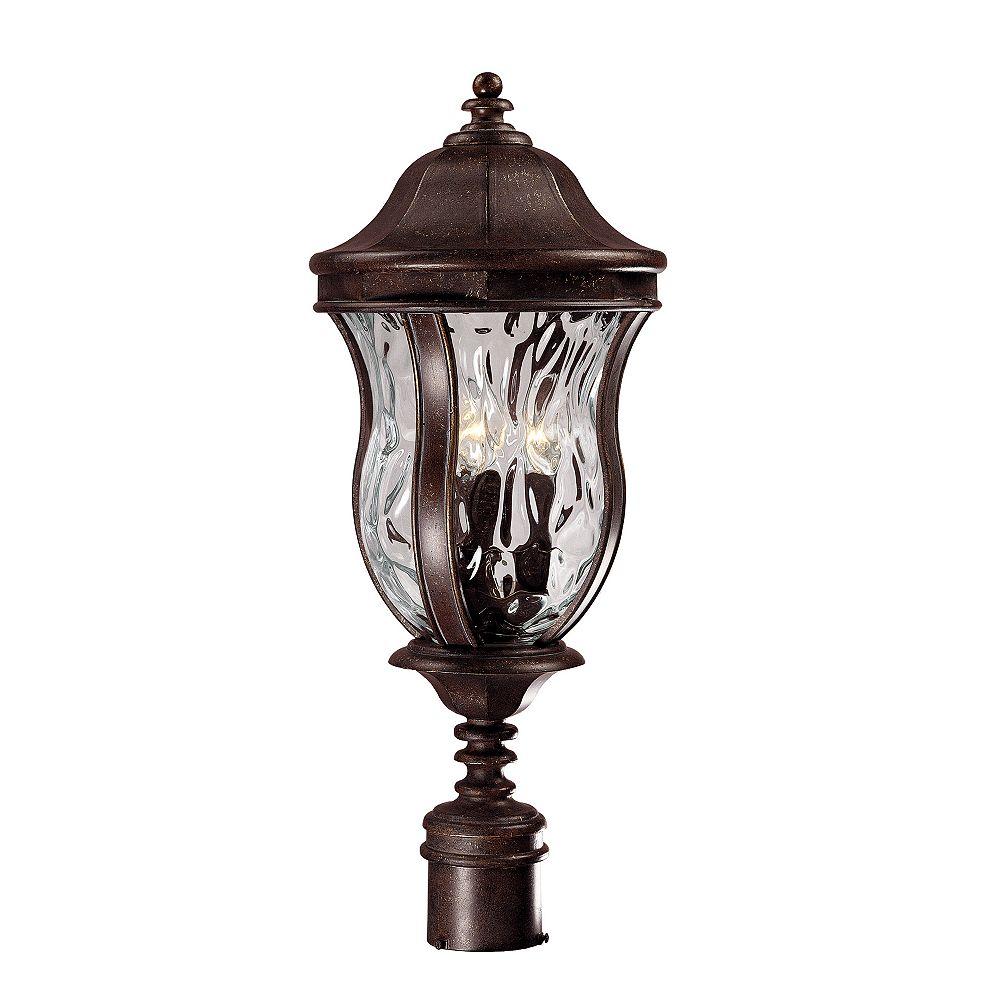 Illumine Satin 3-Light Bronze Outdoor Post Lantern with Clear Glass