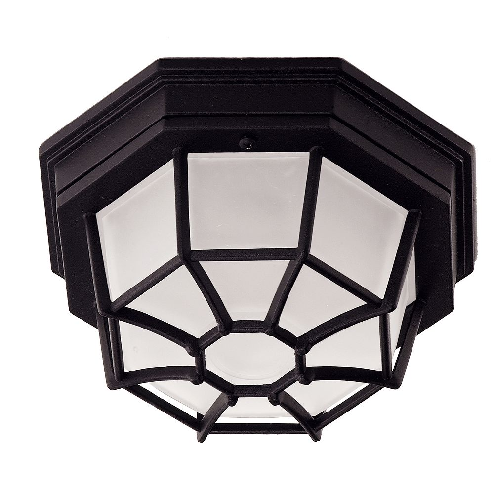 Illumine Satin 1-Light Black Outdoor Flush Mount with Frosted Glass