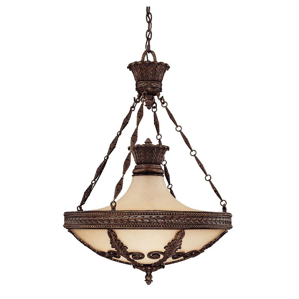 Illumine Satin 6 Light Bronze Incandescent Pendant With White Glass