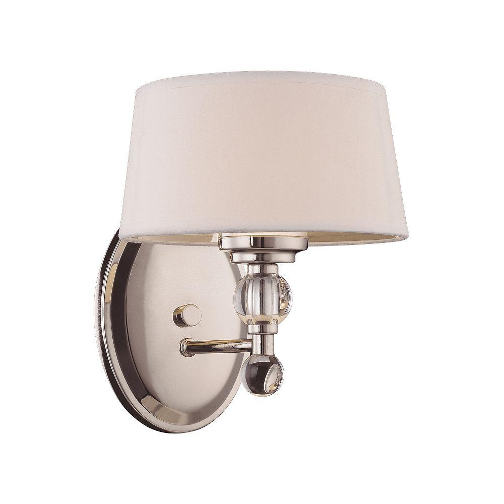 Illumine Satin 1 Light Nickel Fluorescent Wall Sconce With White Glass