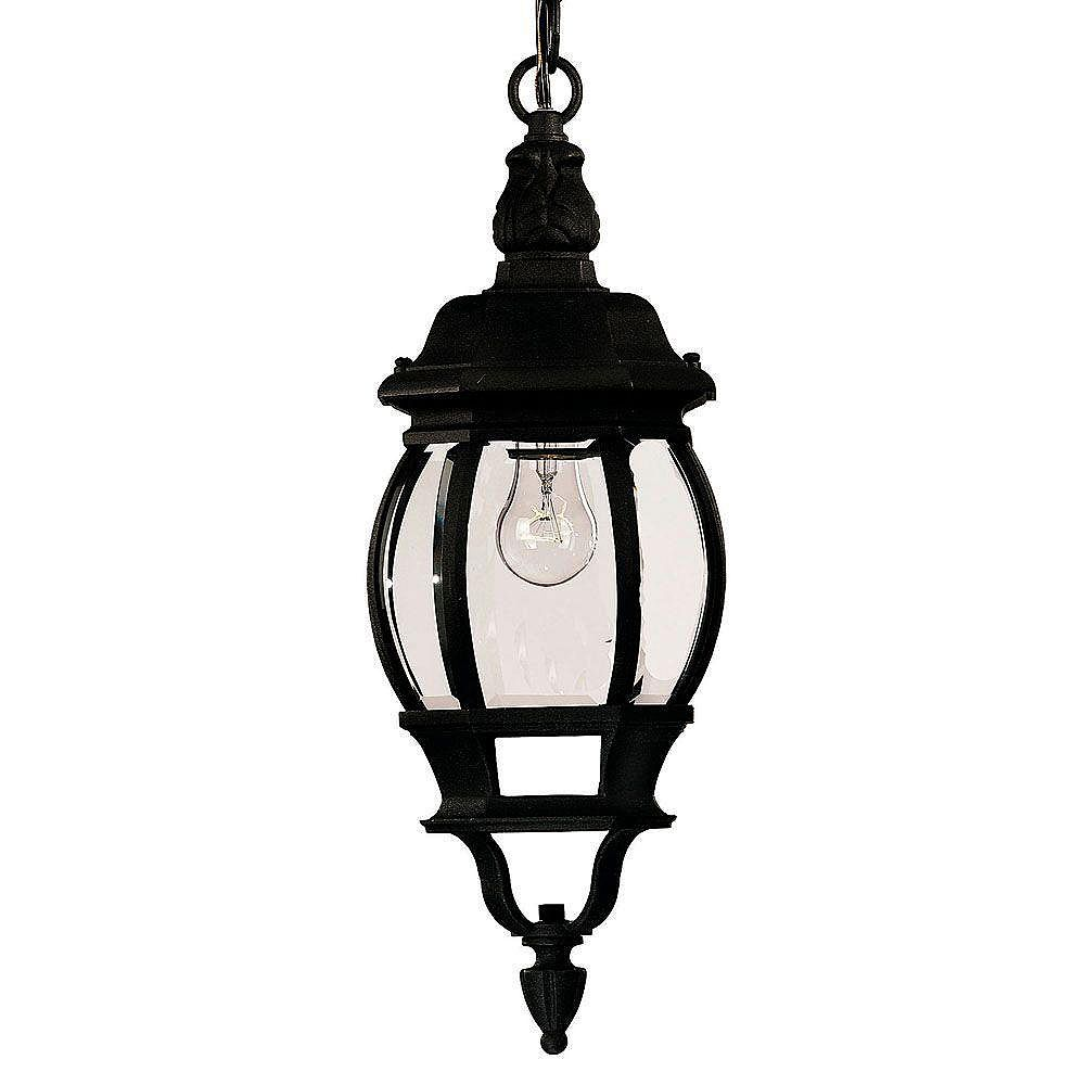 Illumine Satin 1 Light Black Incandescent Outdoor Hanging Lantern With Clear Glass