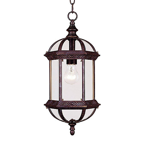 Satin 1-Light Bronze Outdoor Hanging Lantern with Clear Glass
