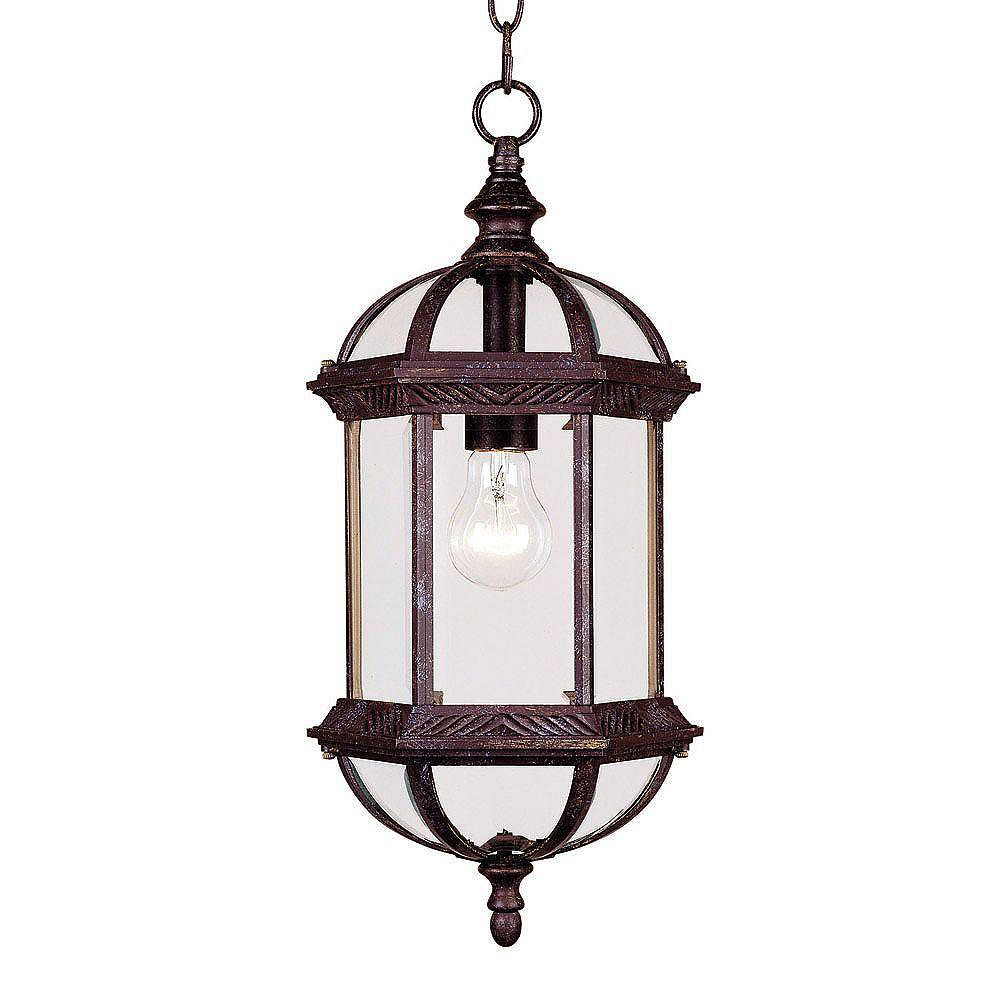 Illumine Satin 1-Light Bronze Outdoor Hanging Lantern with Clear Glass