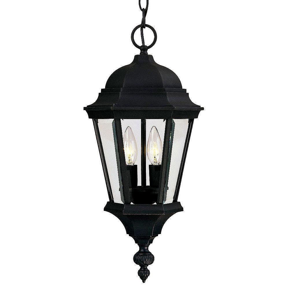 Illumine Satin 2 Light Black Halogen Outdoor Hanging Lantern With Clear Glass
