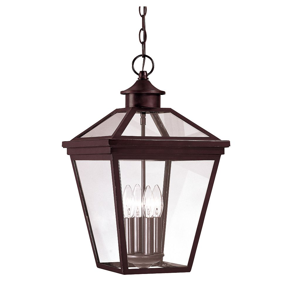 Illumine Satin 4 Light Bronze Halogen Outdoor Hanging Lantern With Clear Glass