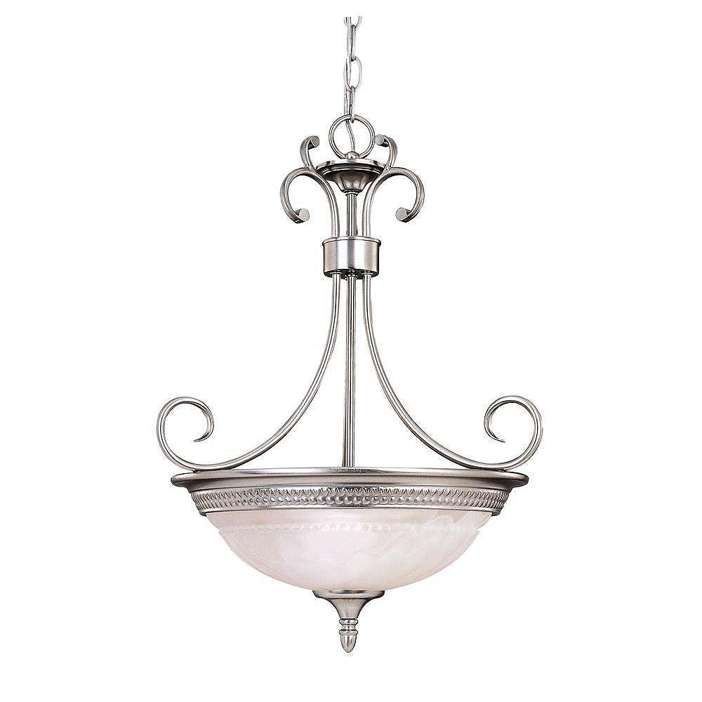 Illumine Satin 3-Light Nickel Pendant with White Glass