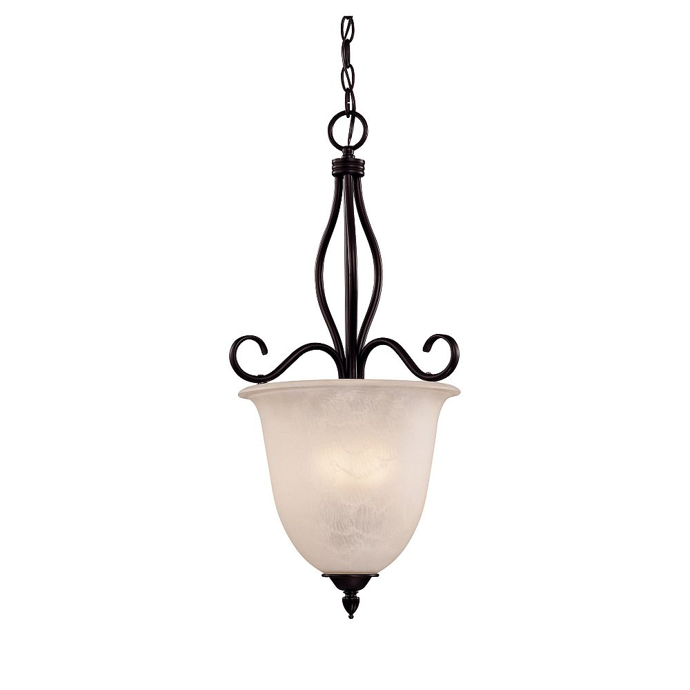 Illumine Satin 4-Light Bronze Pendant with White Glass