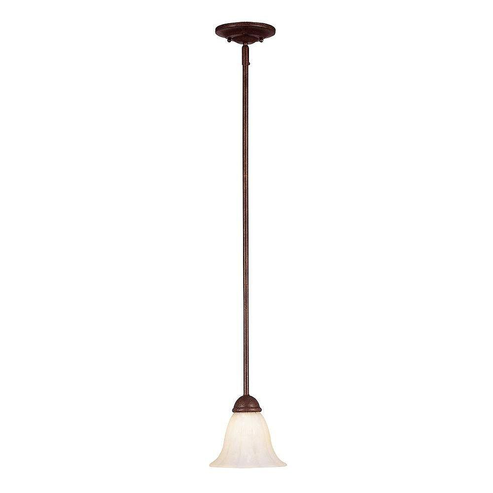 Illumine Satin 1 Light Bronze Incandescent Pendant With White Glass