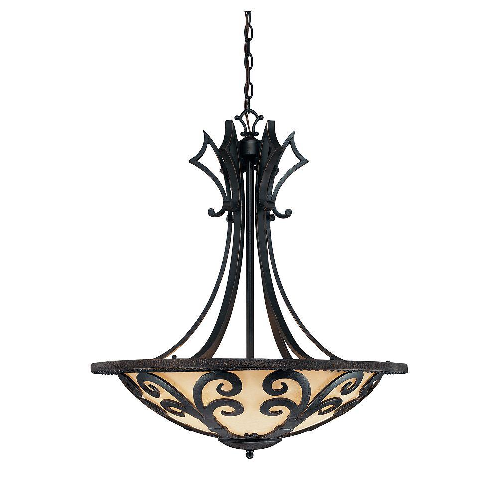 Illumine Satin 4 Light Black Incandescent Pendant With White Glass
