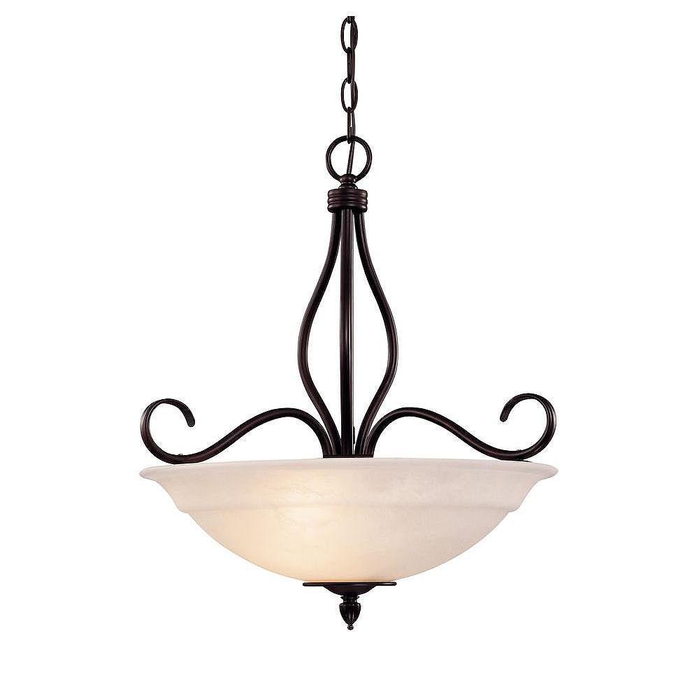 Illumine Satin 3-Light Bronze Pendant with White Glass