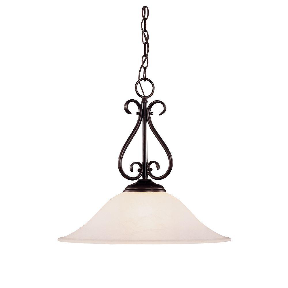 Illumine Satin 1 Light Bronze Incandescent Pendant With White Glass