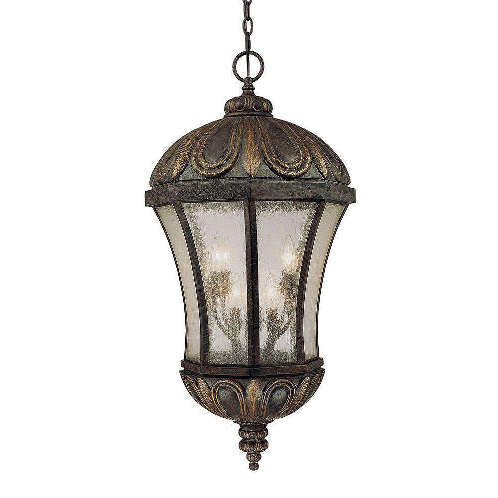 Illumine Satin 8 Light Black Halogen Outdoor Hanging Lantern With White Glass