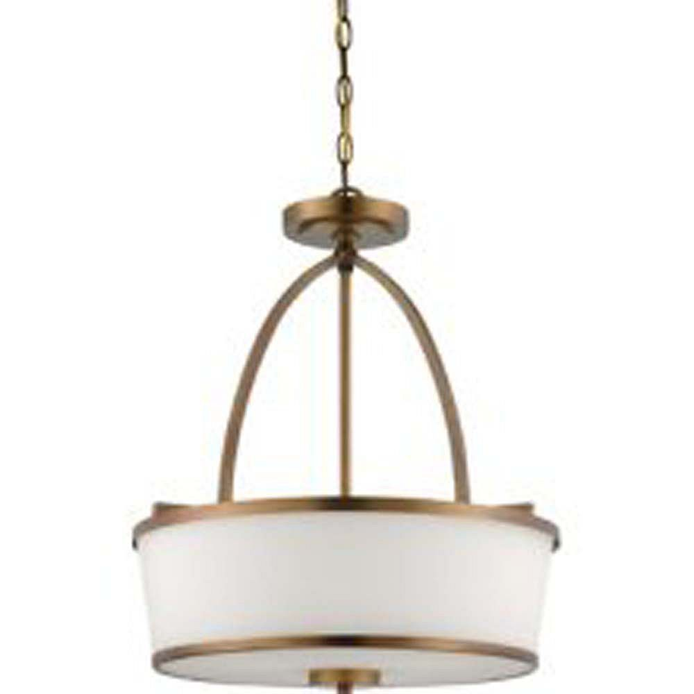 Illumine Satin 3 Light Brass Incandescent Pendant With White Glass