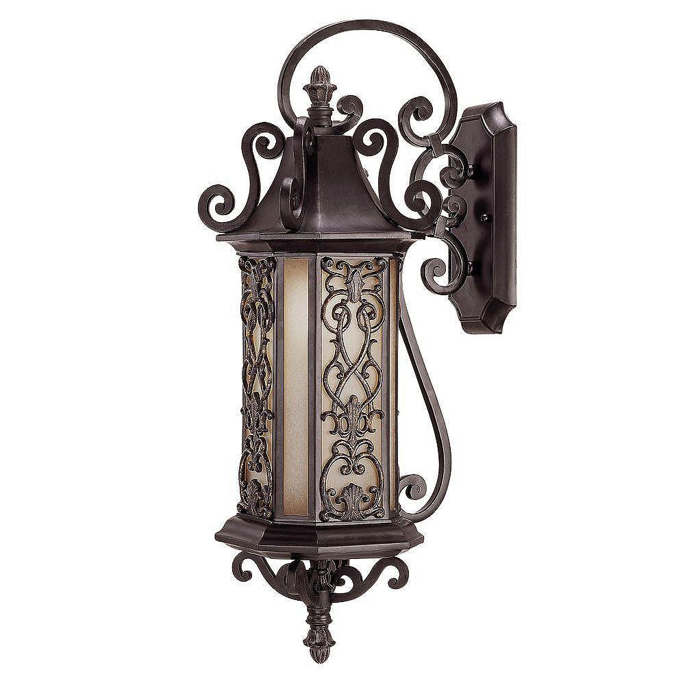Illumine Satin 1-Light Black Outdoor Wall Mount with Multicolor Glass