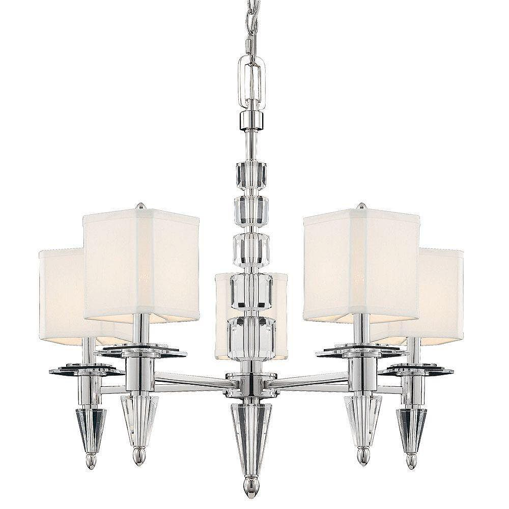 Illumine Satin 5 Light Nickel Incandescent Chandelier With White Square Fabric Glass