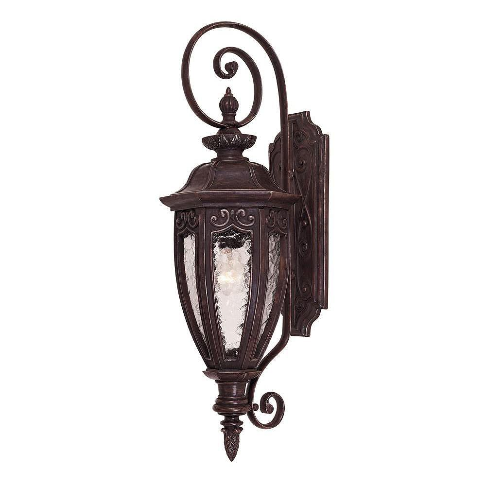 Illumine Satin 1-Light Bronze Outdoor Wall Mount with Multicolor Glass